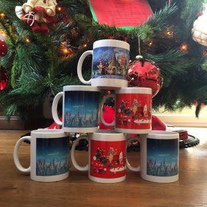 Tazza personalizzata con sfondo natalizio